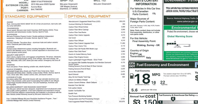 Used 2015 McLaren 650S SPIDER Convertible For Sale In Westport, CT 3569_p36