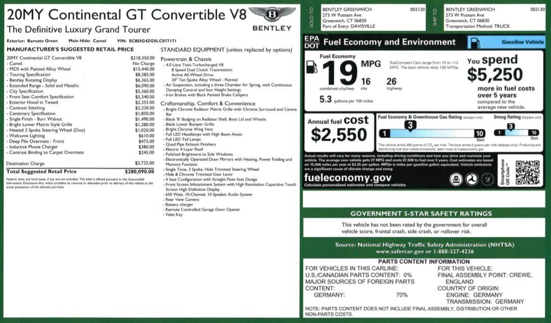 New 2020 Bentley Continental GTC V8 For Sale In Westport, CT 3572_p40
