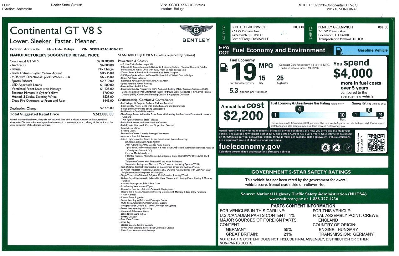 New 2017 Bentley Continental GT V8 S For Sale In Westport, CT 860_p36