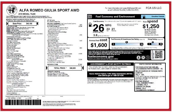New 2018 Alfa Romeo Giulia Sport Q4 for sale Sold at Maserati of Westport in Westport CT 06880 20