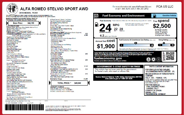 New 2019 Alfa Romeo Stelvio Sport Q4 for sale Sold at Maserati of Westport in Westport CT 06880 2