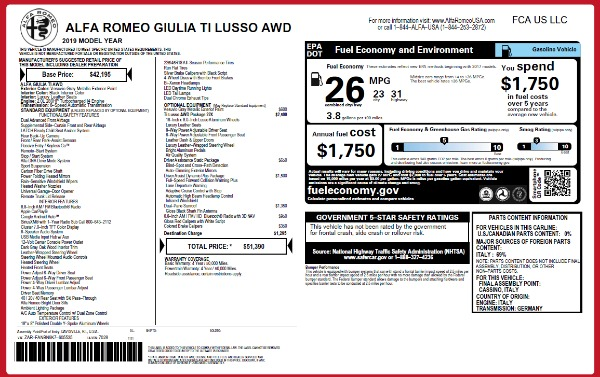 New 2019 Alfa Romeo Giulia Ti Lusso Q4 for sale Sold at Maserati of Westport in Westport CT 06880 2