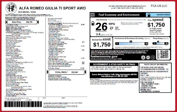 New 2019 Alfa Romeo Giulia Ti Sport Q4 for sale Sold at Maserati of Westport in Westport CT 06880 26