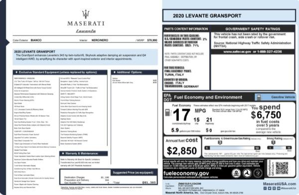 New 2020 Maserati Levante Q4 GranSport for sale $81,385 at Maserati of Westport in Westport CT 06880 23