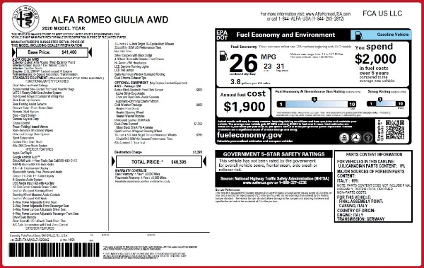 Used 2020 Alfa Romeo Giulia Q4 for sale Sold at Maserati of Westport in Westport CT 06880 24