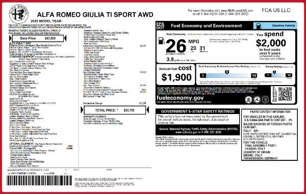 New 2020 Alfa Romeo Giulia Ti Sport Q4 for sale $55,795 at Maserati of Westport in Westport CT 06880 2