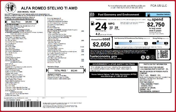 New 2020 Alfa Romeo Stelvio Ti Q4 for sale $52,545 at Maserati of Westport in Westport CT 06880 2