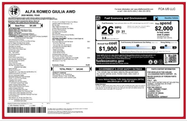 New 2020 Alfa Romeo Giulia Q4 for sale $45,045 at Maserati of Westport in Westport CT 06880 2