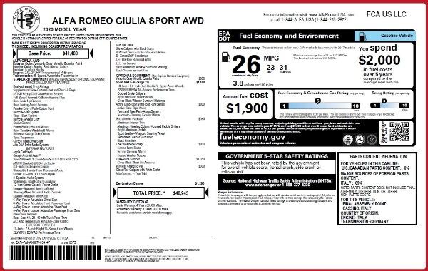 New 2020 Alfa Romeo Giulia Sport Q4 for sale $48,945 at Maserati of Westport in Westport CT 06880 2