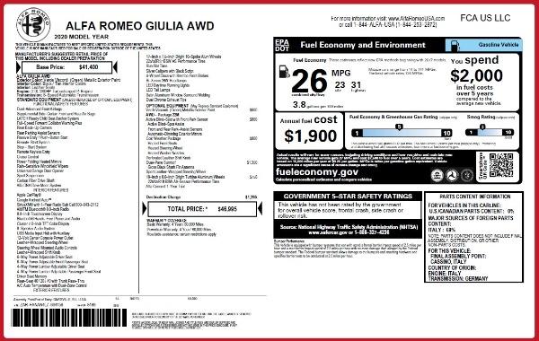 New 2020 Alfa Romeo Giulia Q4 for sale $46,995 at Maserati of Westport in Westport CT 06880 2