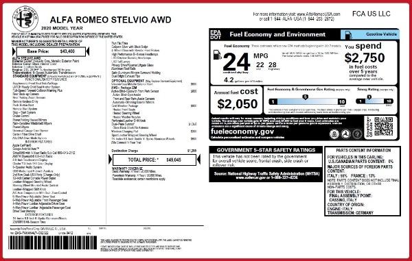New 2020 Alfa Romeo Stelvio Q4 for sale $49,045 at Maserati of Westport in Westport CT 06880 2