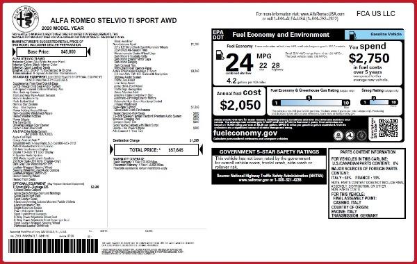 New 2020 Alfa Romeo Stelvio Ti Sport Q4 for sale $57,645 at Maserati of Westport in Westport CT 06880 2