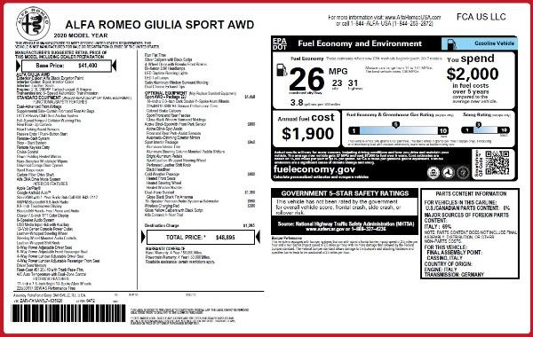 New 2020 Alfa Romeo Giulia Sport Q4 for sale $48,895 at Maserati of Westport in Westport CT 06880 23