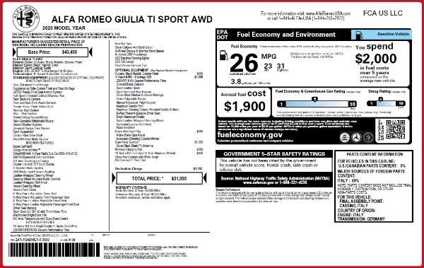 New 2020 Alfa Romeo Giulia Ti Sport Q4 for sale $51,095 at Maserati of Westport in Westport CT 06880 2