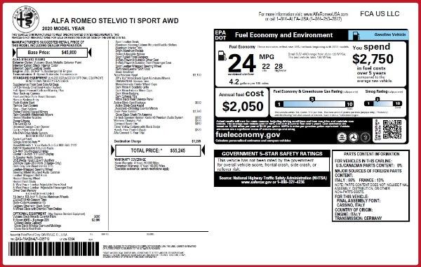New 2020 Alfa Romeo Stelvio Ti Sport Q4 for sale $55,245 at Maserati of Westport in Westport CT 06880 2