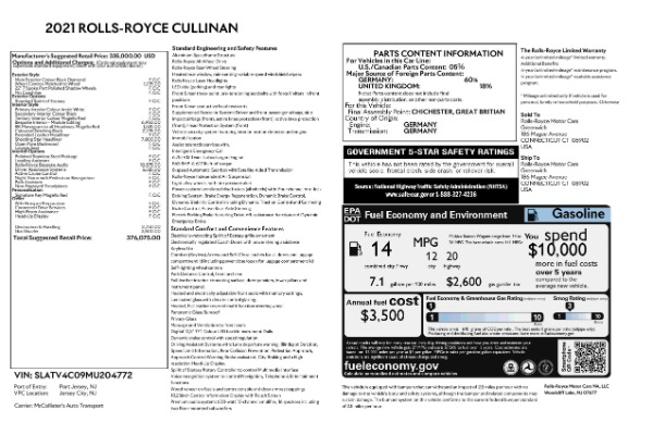 2021 Rolls-Royce Cullinan for sale $376,075 at Maserati of Westport in Westport CT 06880 9