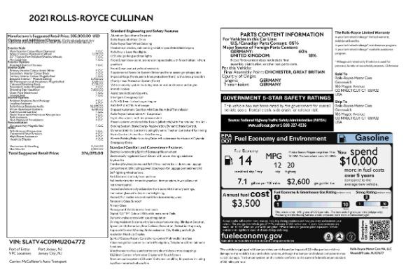New 2021 Rolls-Royce Cullinan Base for sale $376,075 at Maserati of Westport in Westport CT 06880 9