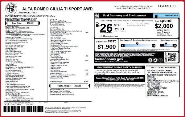 New 2020 Alfa Romeo Giulia Ti Sport Q4 for sale $51,495 at Maserati of Westport in Westport CT 06880 28