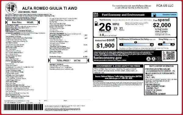 New 2020 Alfa Romeo Giulia Ti Q4 for sale $47,795 at Maserati of Westport in Westport CT 06880 28