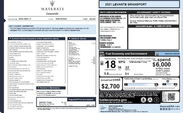New 2021 Maserati Levante Q4 GranSport for sale $92,485 at Maserati of Westport in Westport CT 06880 27