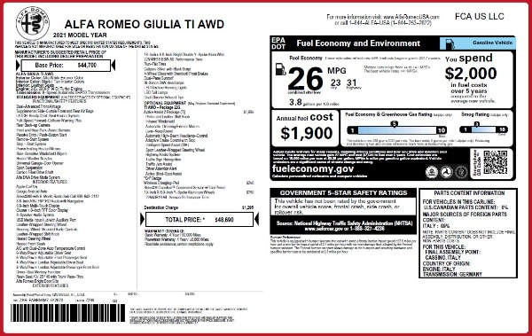 New 2021 Alfa Romeo Giulia Ti Q4 for sale $48,690 at Maserati of Westport in Westport CT 06880 2