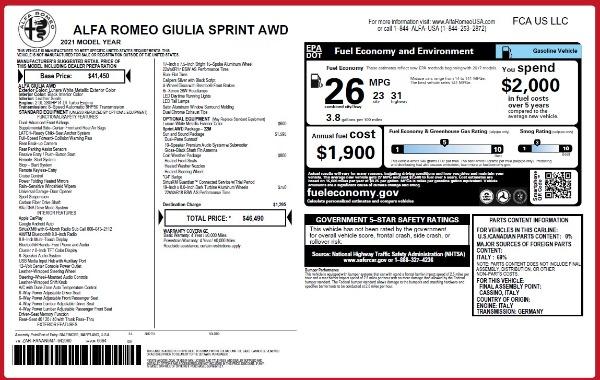 New 2021 Alfa Romeo Giulia Q4 for sale Sold at Maserati of Westport in Westport CT 06880 26