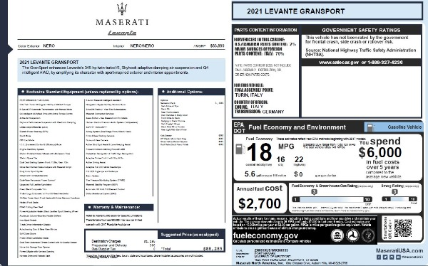 New 2021 Maserati Levante Q4 GranSport for sale $88,285 at Maserati of Westport in Westport CT 06880 2