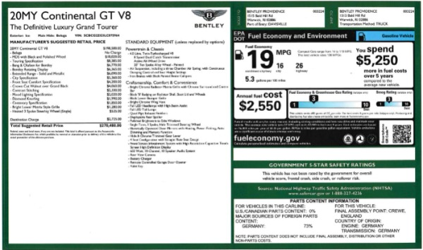 New 2020 Bentley Continental GT V8 for sale $283,430 at Maserati of Westport in Westport CT 06880 28