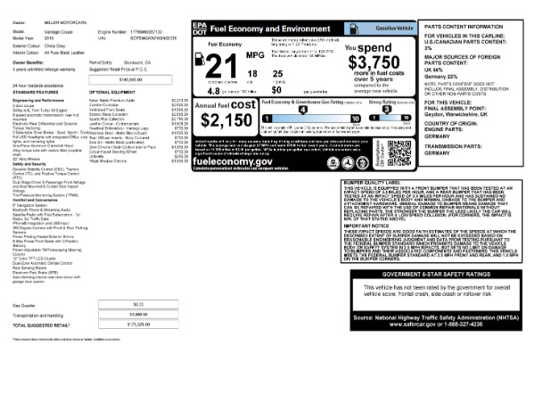 Used 2019 Aston Martin Vantage Coupe for sale $129,900 at Maserati of Westport in Westport CT 06880 23