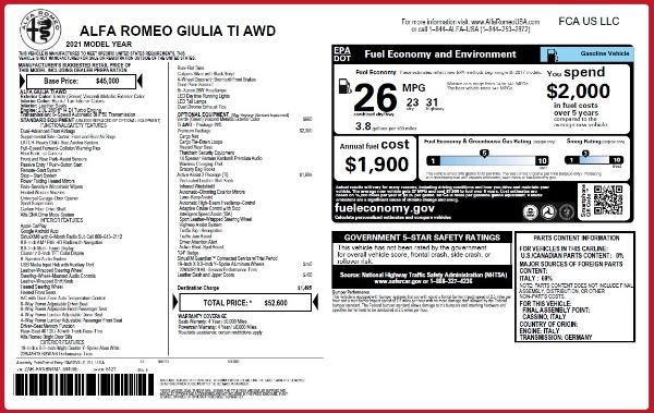 New 2021 Alfa Romeo Giulia Ti Q4 for sale $52,600 at Maserati of Westport in Westport CT 06880 28