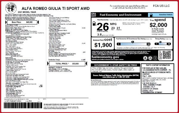 New 2021 Alfa Romeo Giulia Ti Sport Q4 for sale $53,850 at Maserati of Westport in Westport CT 06880 25