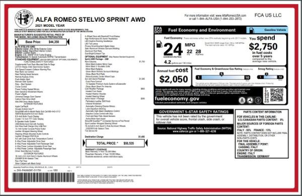 New 2021 Alfa Romeo Stelvio Q4 for sale Sold at Maserati of Westport in Westport CT 06880 28