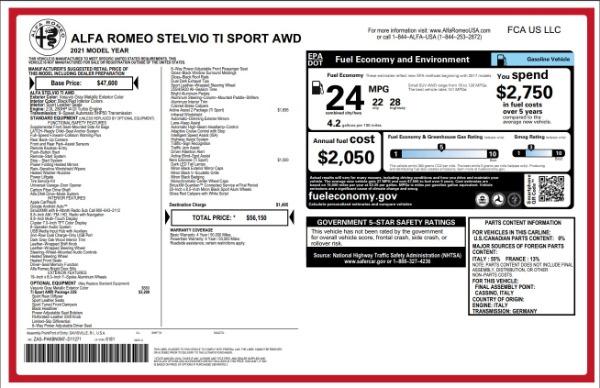 New 2021 Alfa Romeo Stelvio Ti Sport for sale $55,950 at Maserati of Westport in Westport CT 06880 2