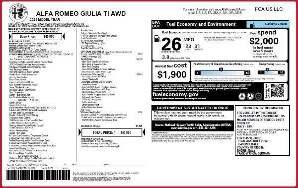 New 2021 Alfa Romeo Giulia Ti Q4 for sale $50,850 at Maserati of Westport in Westport CT 06880 2