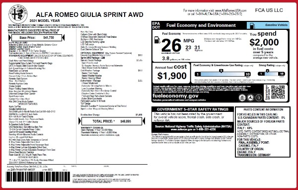 New 2021 Alfa Romeo Giulia Q4 for sale $46,895 at Maserati of Westport in Westport CT 06880 26