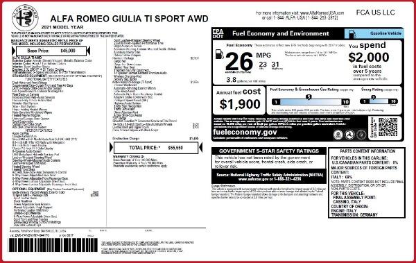 New 2021 Alfa Romeo Giulia Ti Sport Q4 for sale $55,550 at Maserati of Westport in Westport CT 06880 2