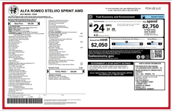 New 2021 Alfa Romeo Stelvio Q4 for sale $49,845 at Maserati of Westport in Westport CT 06880 2