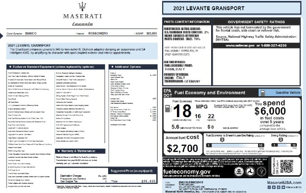 New 2021 Maserati Levante Q4 GranSport for sale $95,835 at Maserati of Westport in Westport CT 06880 20
