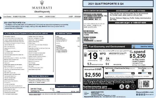 New 2021 Maserati Quattroporte S Q4 for sale $114,149 at Maserati of Westport in Westport CT 06880 26
