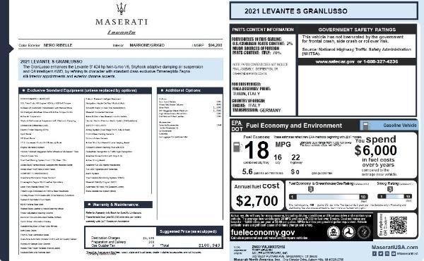 New 2021 Maserati Levante S Q4 GranLusso for sale $100,949 at Maserati of Westport in Westport CT 06880 26