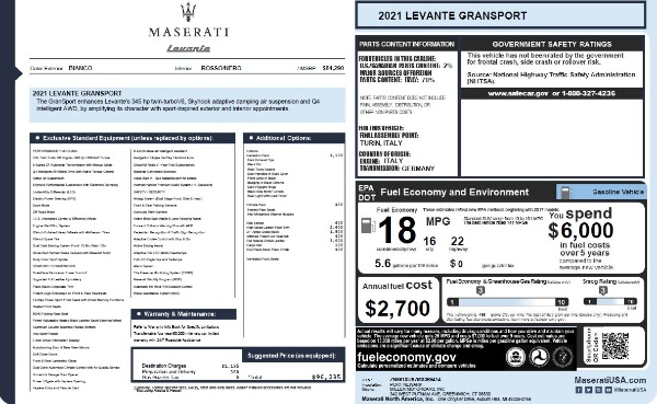 New 2021 Maserati Levante Q4 GranSport for sale $96,235 at Maserati of Westport in Westport CT 06880 26