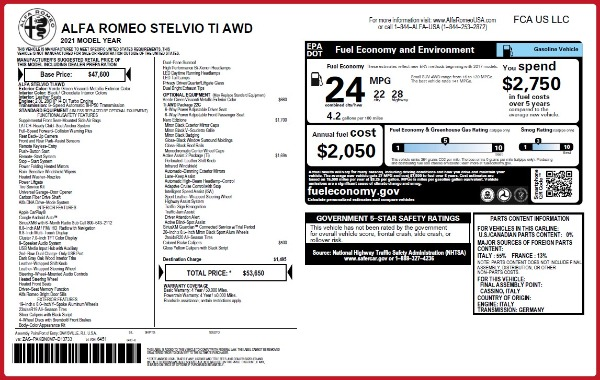 New 2021 Alfa Romeo Stelvio Ti Q4 for sale $53,650 at Maserati of Westport in Westport CT 06880 26