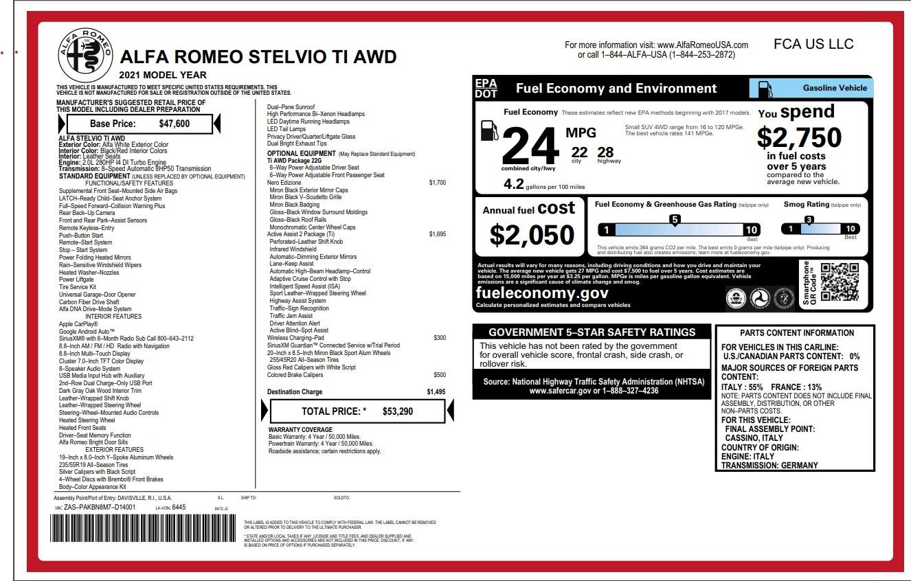 New 2021 Alfa Romeo Stelvio Ti for sale $53,290 at Maserati of Westport in Westport CT 06880 1