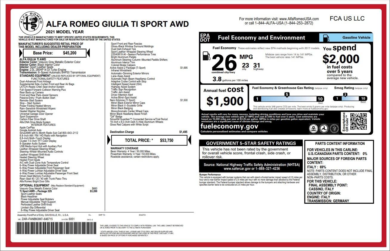 New 2021 Alfa Romeo Giulia Ti Sport for sale $53,750 at Maserati of Westport in Westport CT 06880 1