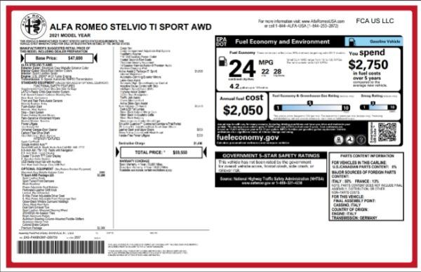 New 2021 Alfa Romeo Stelvio Ti Sport for sale $59,550 at Maserati of Westport in Westport CT 06880 2