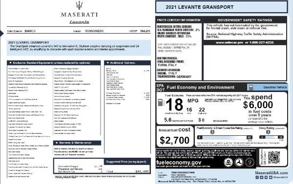 New 2021 Maserati Levante Q4 GranSport for sale $92,485 at Maserati of Westport in Westport CT 06880 28