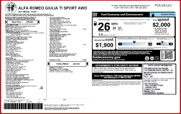 New 2021 Alfa Romeo Giulia Ti Sport Q4 for sale Call for price at Maserati of Westport in Westport CT 06880 26