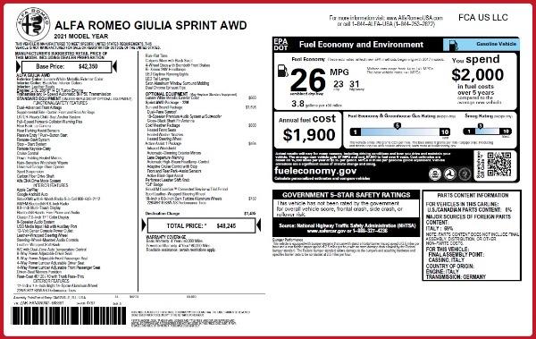 New 2021 Alfa Romeo Giulia Q4 for sale $48,245 at Maserati of Westport in Westport CT 06880 22