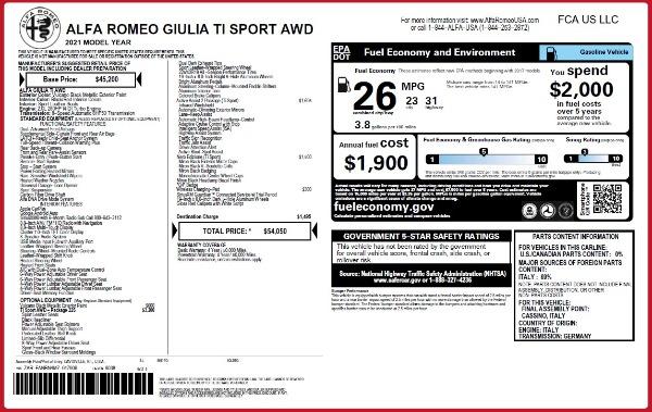 New 2021 Alfa Romeo Giulia Ti Sport Q4 for sale $54,050 at Maserati of Westport in Westport CT 06880 25