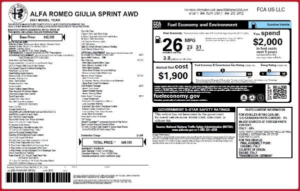New 2021 Alfa Romeo Giulia Q4 for sale $49,195 at Maserati of Westport in Westport CT 06880 2